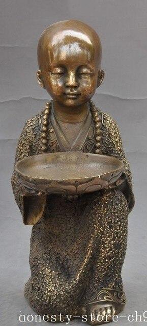christmas old china chinese buddhism bronze fane Buddhist monk lotus flower bowl statue halloween