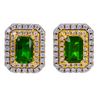 diopside s925 sterling silver fresh fine jewelry for women Natural green gemstone stud earrings