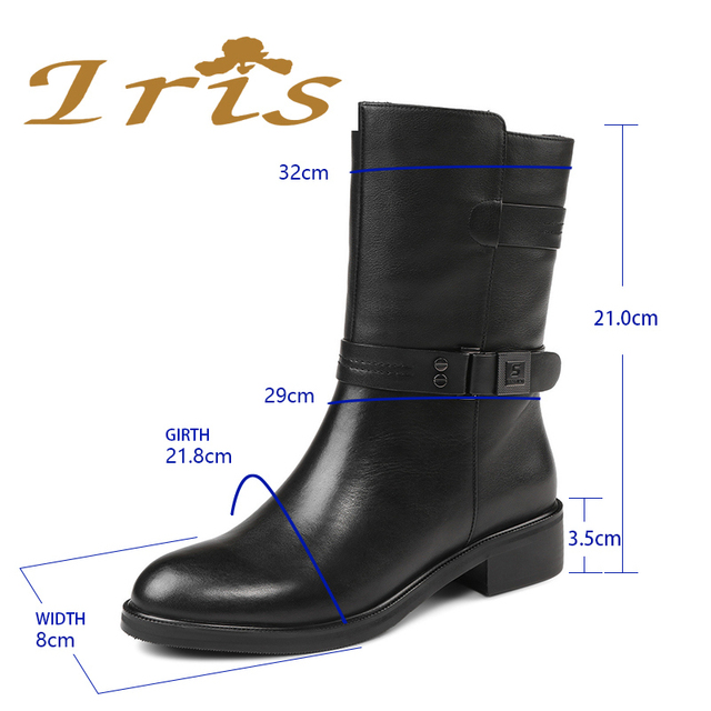 IRIS Mid Calf Boots Women Black Genuine Leather Round Toe Flat Heels Motocyle Boots Hademade High Quality Short Boots 2017 New 1