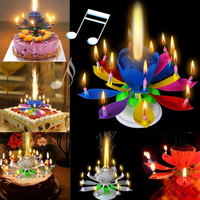 Popular 1pc New Hot Sale Novelty Candle Cake Topper Birthday Lotus