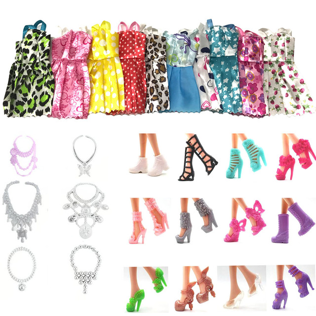 NK Hot Sell 28 Item/Set=10 Pcs Mix Sorts Beautiful Party Clothes Fashion Dress+6 Plastic Necklac+12 Pair Shoes For Barbie Doll