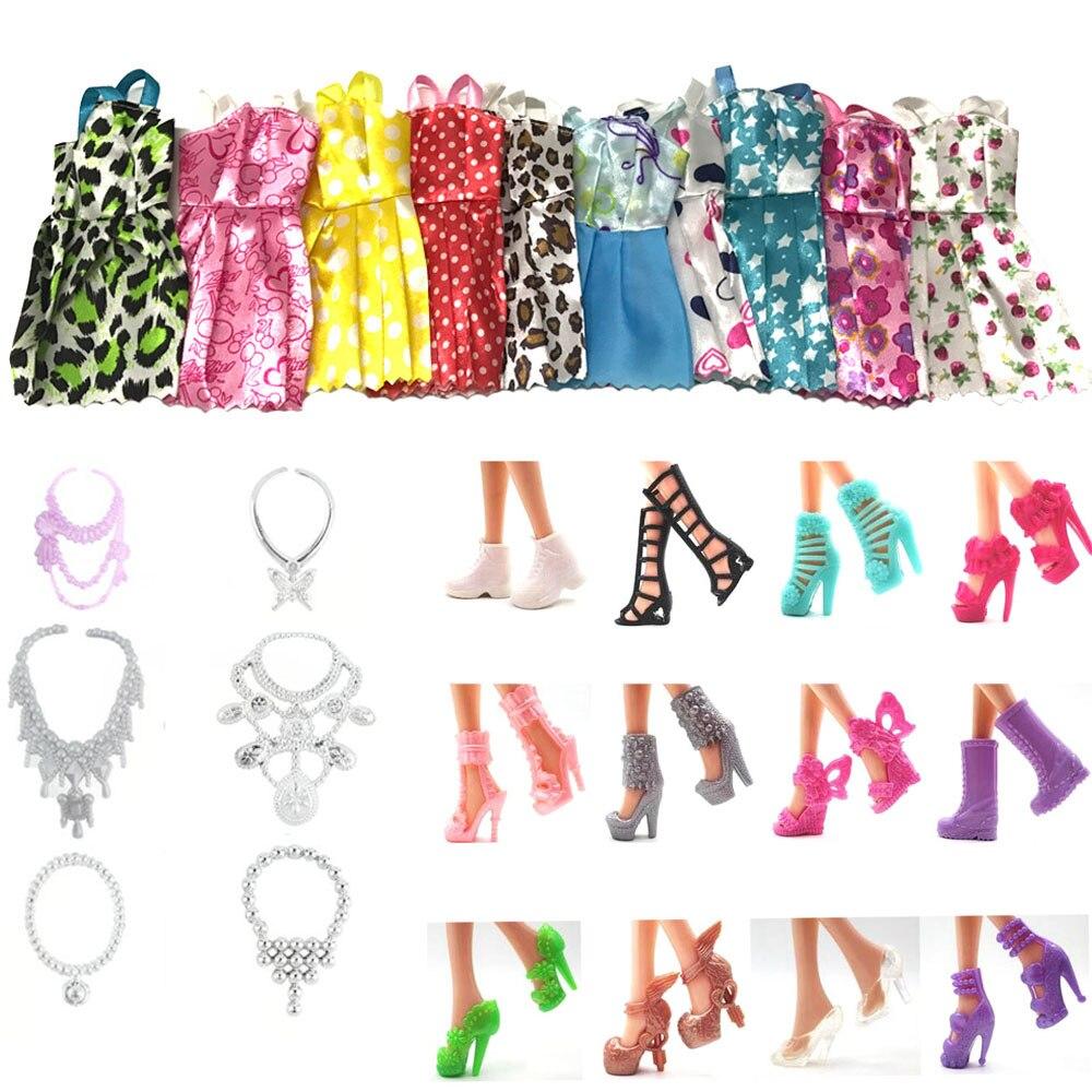 NK Hot Sell 28 Item/Set=10 Pcs Mix Sorts Party Clothes Fashion Dress+6 Plastic Necklac 12 Pair Shoes For Barbie Doll  DZ