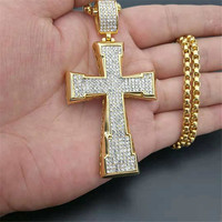 Hip Hop Big Cross Pendant Necklace Male Gold Color Stainless Steel Iced Out Rhinestones Crucifix Necklace For Men Jewelry