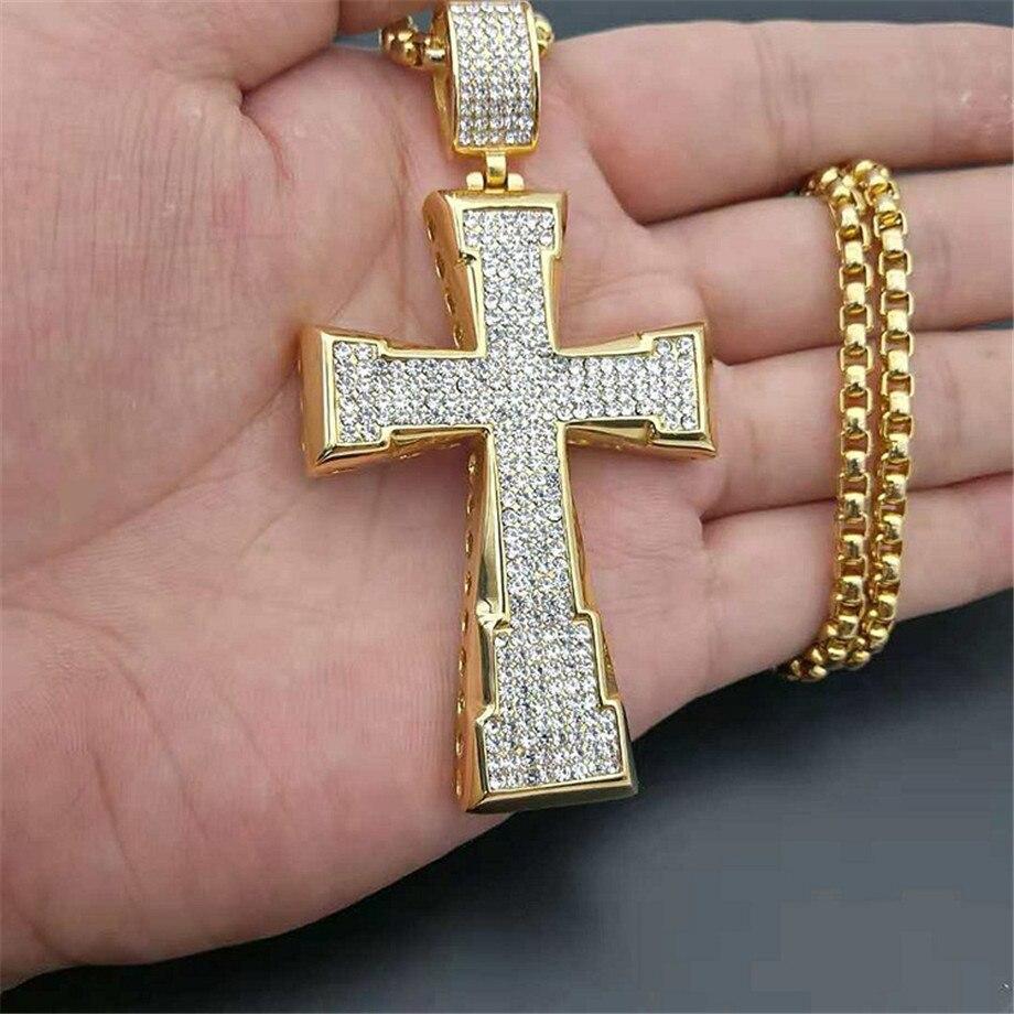 Hip Hop grand croix pendentif collier mâle couleur or acier inoxydable glacé strass Crucifix collier pour hommes bijoux