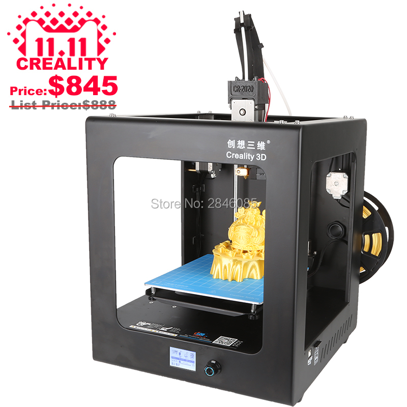 цена 2017 High Quality CREALITY 3D CR-2020 Auto Leveling 3D Printer Full Assembled 3D Printing Machine+ Hotbed+Filament+SD Card+LCD
