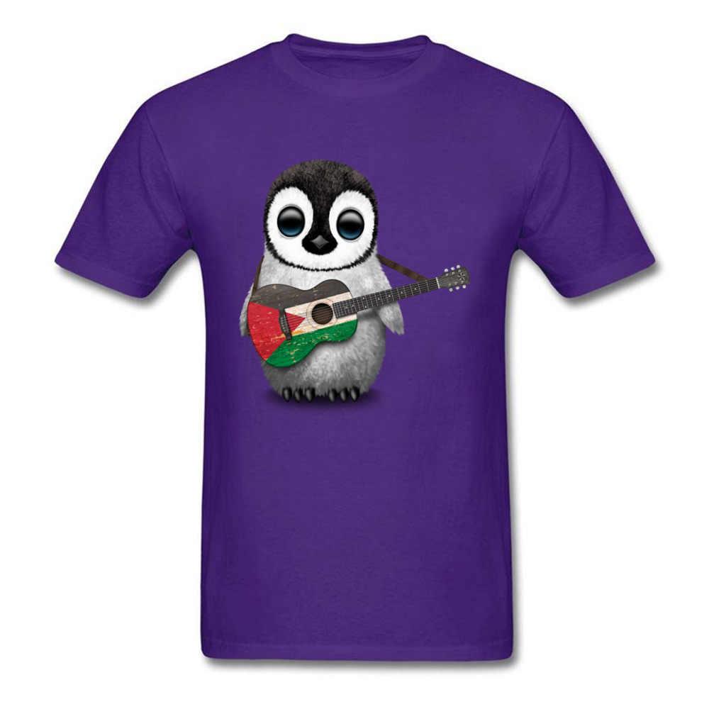 Camiseta Kawaii Comics Algodón puro verano/otoño Pingüino bebé tocando la guitarra bandera palestina camiseta interesante para regalo para estudiantes