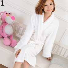 Men Women Loose Long Sleepwear Comfortable Bathrobe Coral Fleece Spa Robe
