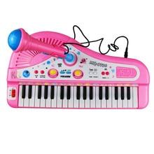 Купить с кэшбэком 37 Keys Electone Mini Electronic Keyboard Musical Toy Kids Educational Toys  with Microphone Piano Baby Toys Kid Birthday Gifts