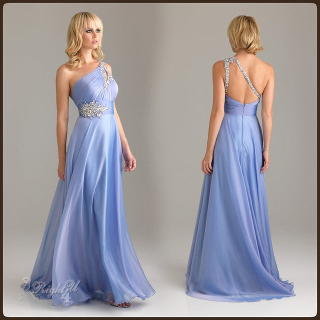 RT13002 Modern Blue Sexy Masquerade Ball Crystal One Shoulder Flapper Floor Length Chiffon Maternity Prom Dresses