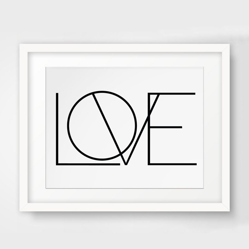 NºAmor minimalista lienzo pintura blanco y negro del arte carteles e ...