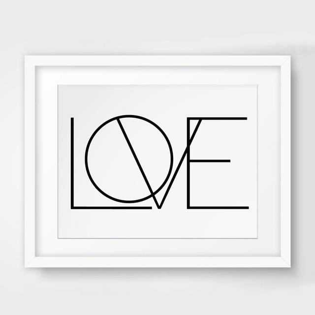 Aliexpress.com : Buy Minimalist Love Canvas Painting Black ...