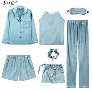 Image 1 - 2019 Women 7 Pieces Pajamas Sets Stripe Printing Satin Silk Pajamas Womens Sleepwear Lovely Home Clothing Long And Short Pijama