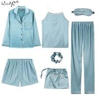 2019 Women 7 Pieces Pajamas Sets Stripe Printing Satin Silk Pajamas Women's Sleepwear Lovely Home Clothing Long And Short Pijama