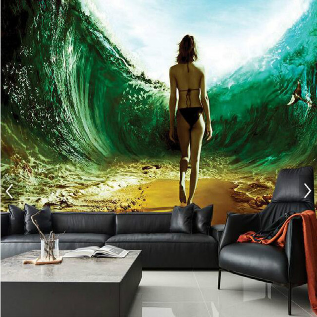 Underwater Channel Sexy Beauty 3D Large Mural Wallpaper Living Room Bedroom Painting TV