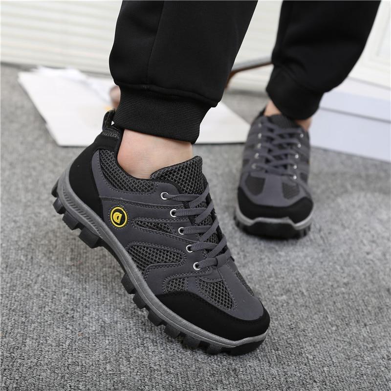 2018 New Men's Work Shoes Outdoor Sneakers Men Mesh Shoes Non-slip Wear-resistant Travel Shoes Breathable Wear Slip Desert Boots