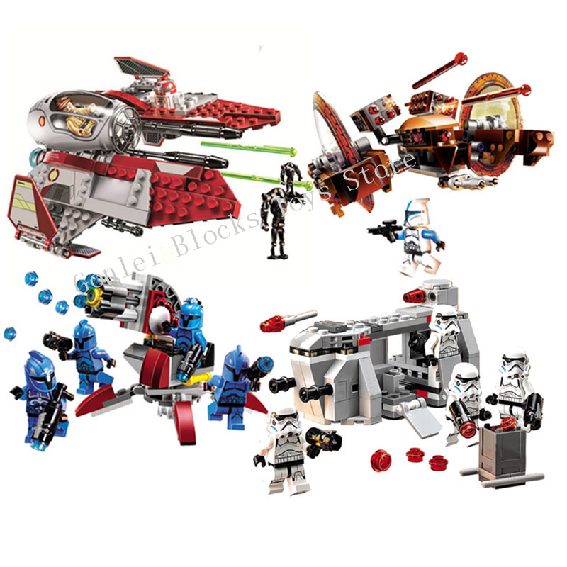 NEW Star Wars Series Obi-Wan's Jedi Interceptor Senate Commando Trooper Model Building Blocks Toys Compatible with StarWars