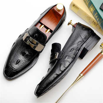 Mens formal shoes Genuine leather dress oxford shoes for men dressing wedding business office shoes slip on male men shoes 2020