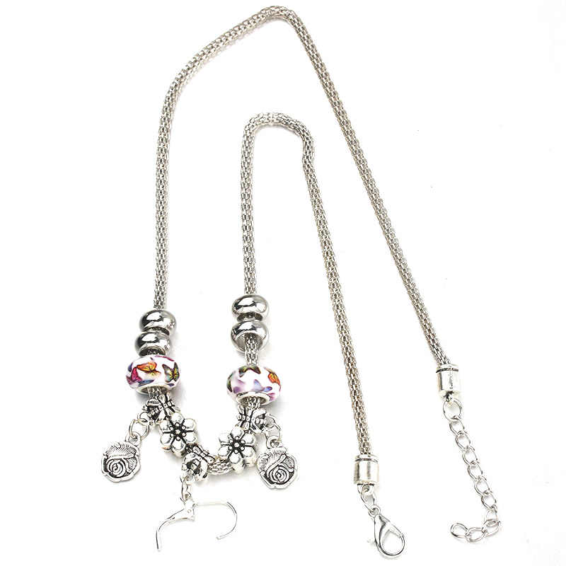 6 Colors Butterfly Rose Necklace Bracelet Set Fine Silver Bead Hollow Chain Beaded Bracelet With Hook DIY Pendant Jewelry