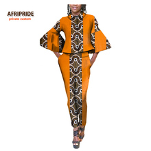 2017 women suit african clothes AFRIPRIDE private custom long sleeve top+ long pants flare sleeves plus size pure cotton A722631