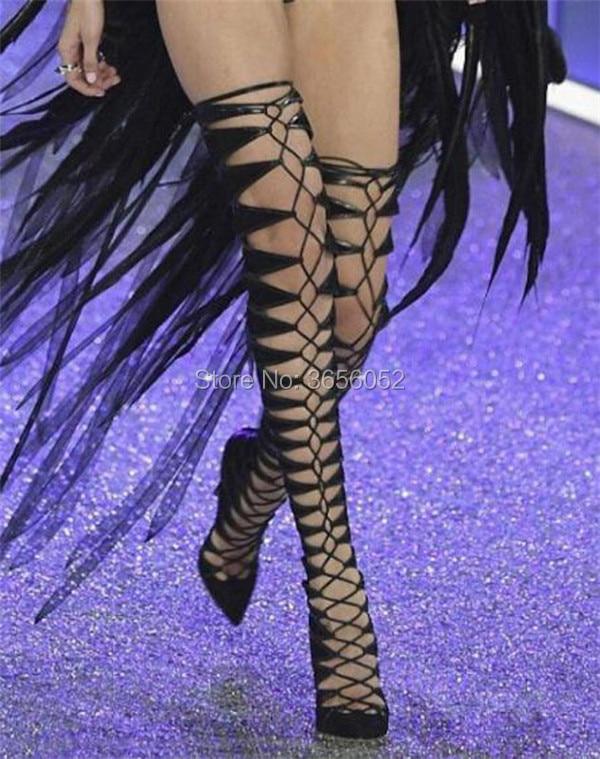 Dedo Botas Sobre Encaje Atado Rodilla Alta Muslo Del beige Pista Suede Zapatos Pie Punta Negro Cruzado Mujer Black De Recortes Moda La Beige Fetiche OPqx8F