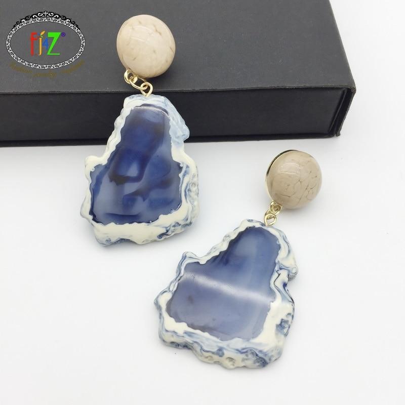 F J4Z New Designer Top Fashion Ethnic Resin Geometric Drop Earrings for Women Female Jewelry Accessories oorbellen voor vrouwen in Drop Earrings from Jewelry Accessories