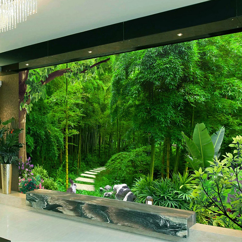 3D Waterproof Canvas Self-adhesive Mural Sticker Bamboo Forest Small Road Photo Wallpaper Wall Decals Living Room Wall Painting