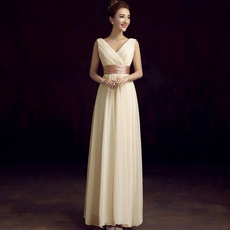 Vestido madrinha hot chiffon sexy V neck A line champagne royal blue sky blue lilac white   bridesmaid     dresses   long wedding guest