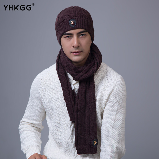 YHKGG 2016 Top Quality Winter Warm Knitted Scarf And Hat man  Thicken Knitted Faux Fur Hat Scarf