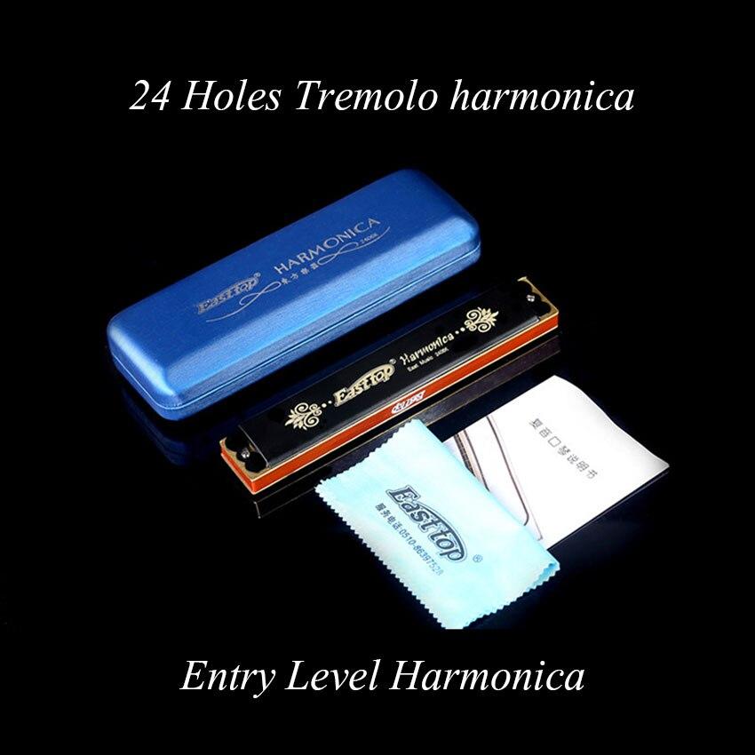 EASTTOP 24 Hoyos Tremolo Harmonica C Armónica Instrumento Musical Profesional Pa