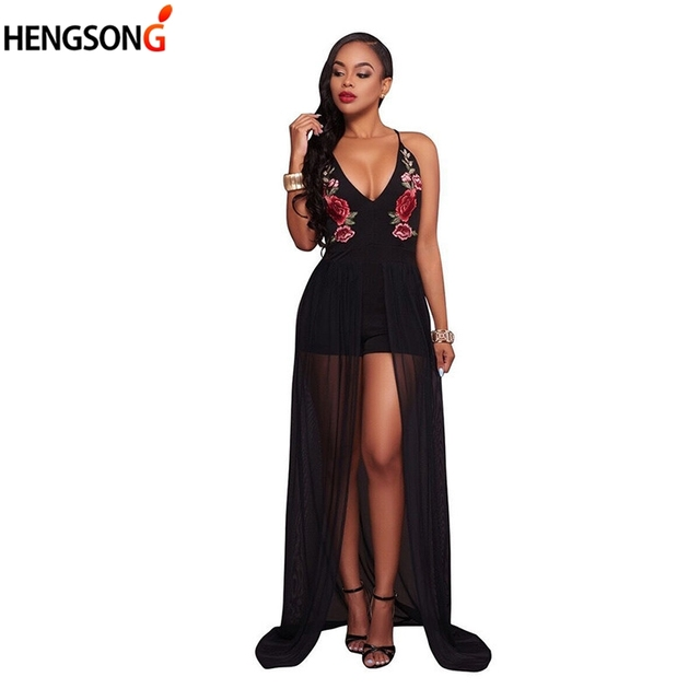 6bf4fac62cd9 Fashion Women Dress 2018 Summer Mesh Flowers Embroidery Playsuit Dress  Woman Rompers Floor Length Long Maxi