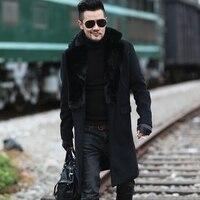 2017 Erkekler yeni kış siyah yün kürk yaka uzun coat avrupa tarzı metrosexual adam marka tasarım sıcak streç dış giyim ince ceket