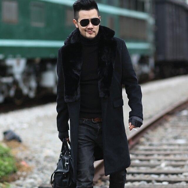 2017 Для мужчин новые зимние черный шерстяной меховой воротник длинное пальто европейский стиль метросексуал человек брендовые Дизайнерские теплые стрейч Верхняя одежда Пальто узкого кроя