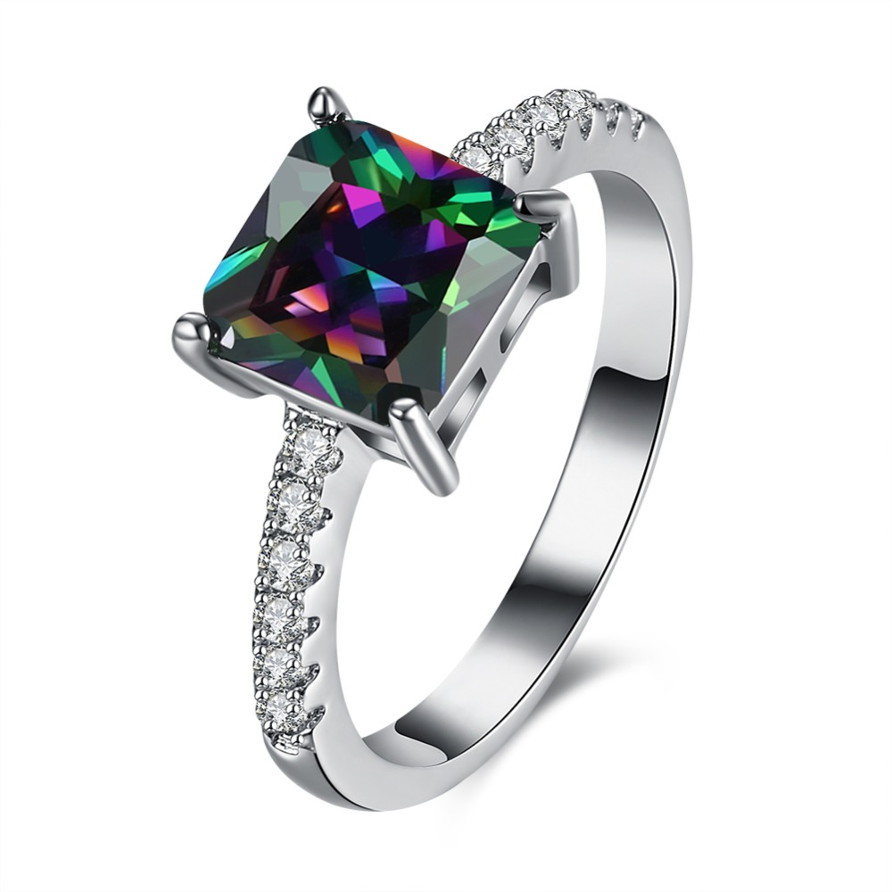White gold plated square font b ring b font with zircon luxury jewelry for font b