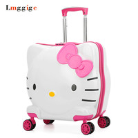 Kids Rolling Luggage Bag,Children's Hello Kitty Suitcase with wheel Child Trolley with Lock Boy Girl Carry On Travel Box Gift