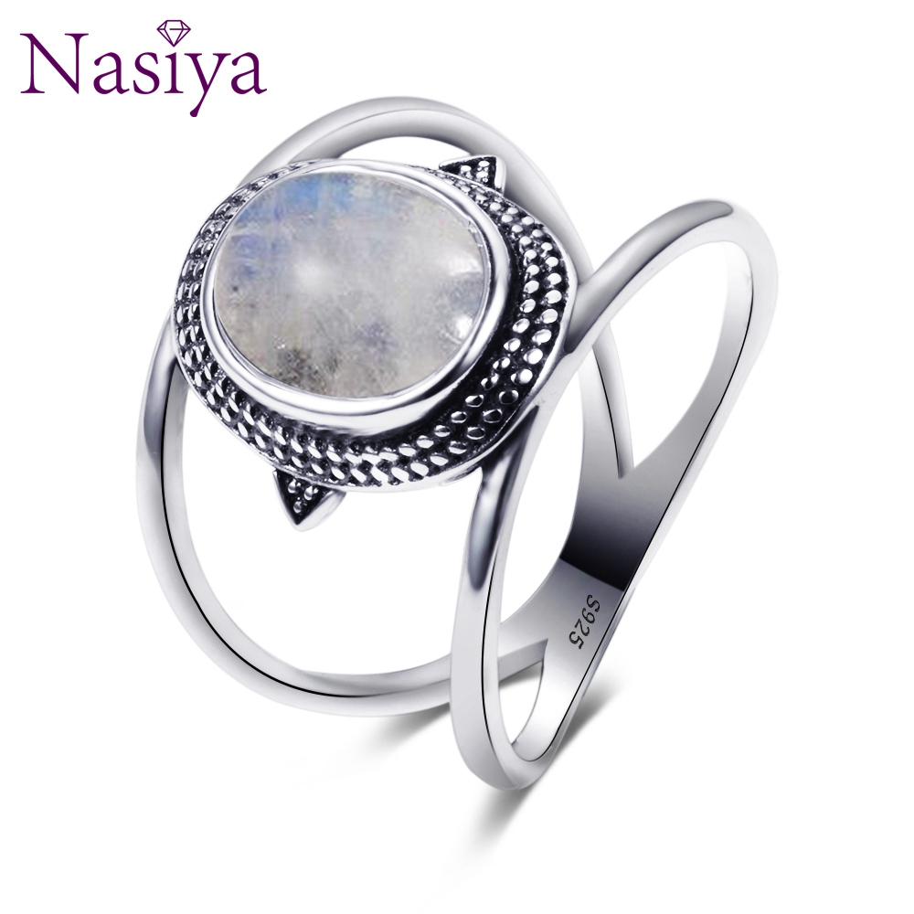 Nasiya Newest Luxury Oval Natural Moonstone Rings For Men Women Solid 925 Silver Jewelry Gemstone Rings Party Gift
