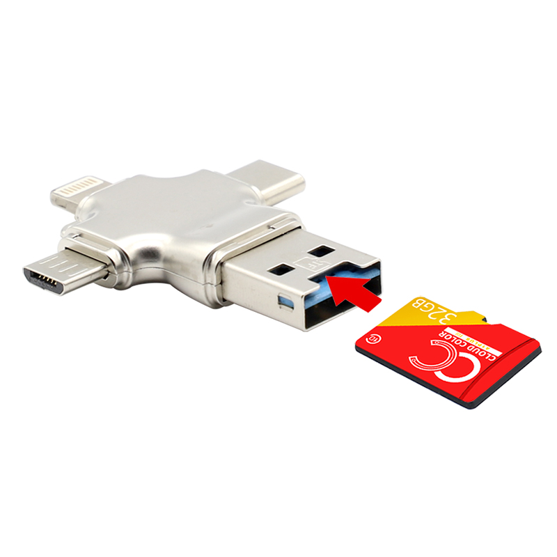 4 In 1 OTG USB Flash Card Reader Phone USB Flash Drive For Iphone Micro USB