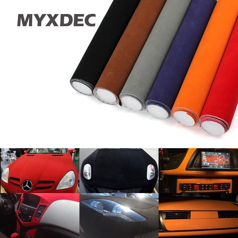 135*30CM 8 colores tela de terciopelo película de gamuza coche pegatina con burbuja pegatina interior para coche pegatina decoración corporal