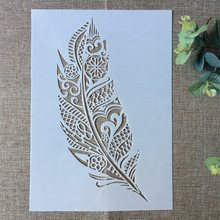 29*21cm Big Feather DIY Layering Stencils Wall Painting Scrapbook Coloring Embossing Album Decorative Paper Card Template(China)