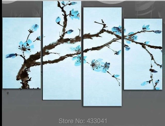 Hand Painted Light Blue flower wall canvas paintings wall pictures ...