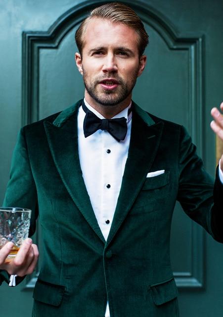 2018 Tailored Made Green Velvet Wedding Suits For Men Suit Slim Fit 2 Piece Groom