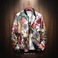 YuWaiJiaRen Spring Flower Jacket Men Floral Printed Jacket Mens Hip Hop Stand Collar Windbreaker Brand Streetwear Plus Size 5XL