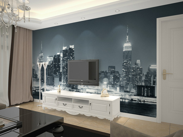 Modern Living Room Murals aliexpress : buy city night/mural wallpaper of modern living