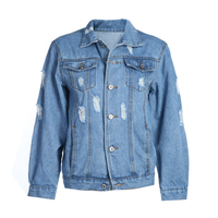 Women Loose Long-sleeved Washing Hole Jeans Coat