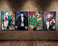 Joker and Harley Quinn 4 Pieces Canvas Painting Print Living Room Home Decor Modern Wall Art Oil Painting