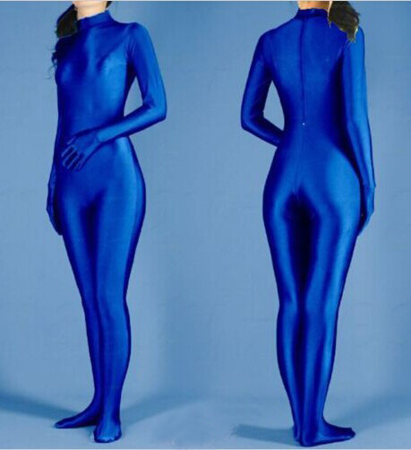 2015 Sexy lycra spandex Plain Navy blue zentai bodysuit fantasia halloween carnival costume No Hood free shipping