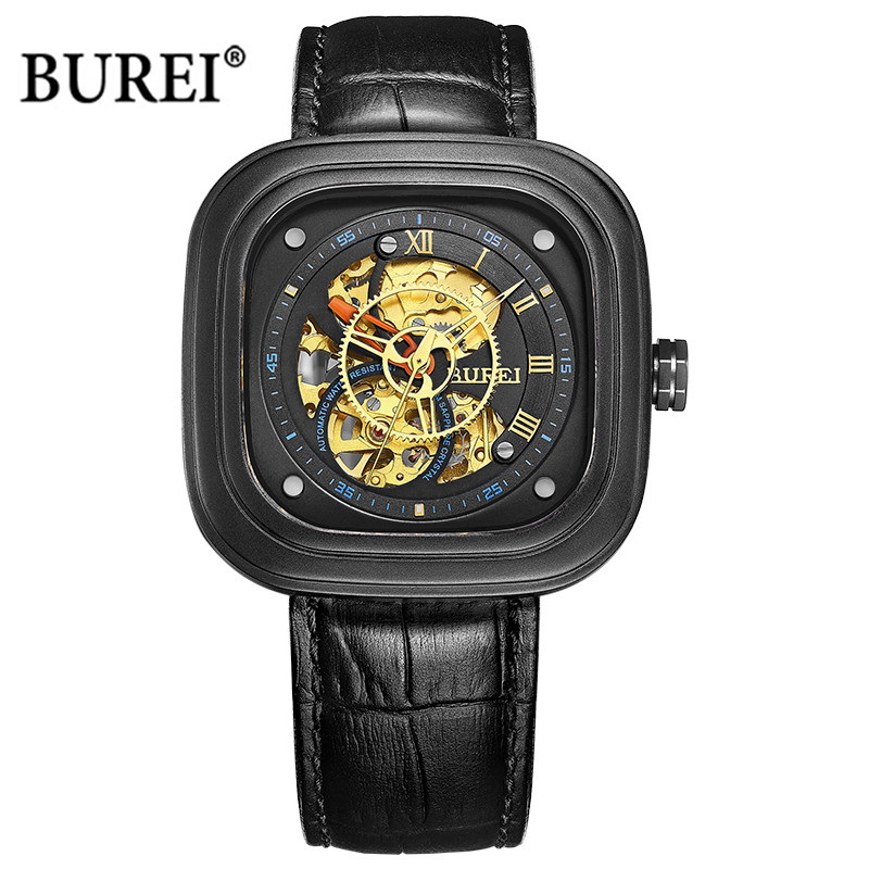 BUREI Mechanical Watches Men Leather Military Sapphire Crystal Square Dial Automatic Wrist Watch Clock Saat Relogio Masculino burei top brand luxury mens watches men military sapphire crystal skeleton automatic mechanical wrist watch clock montre homme