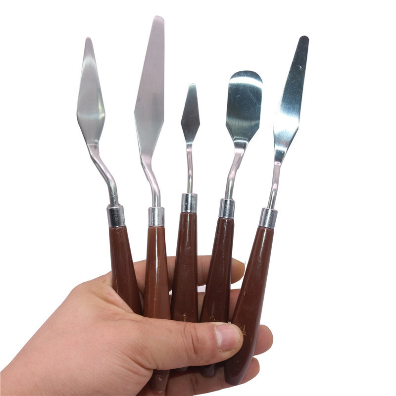 5 Pcs/set Professional Stainless Steel Spatula Kit Palette For Oil Painting Knife Fine Arts Painting Tool Set Flexible Blades