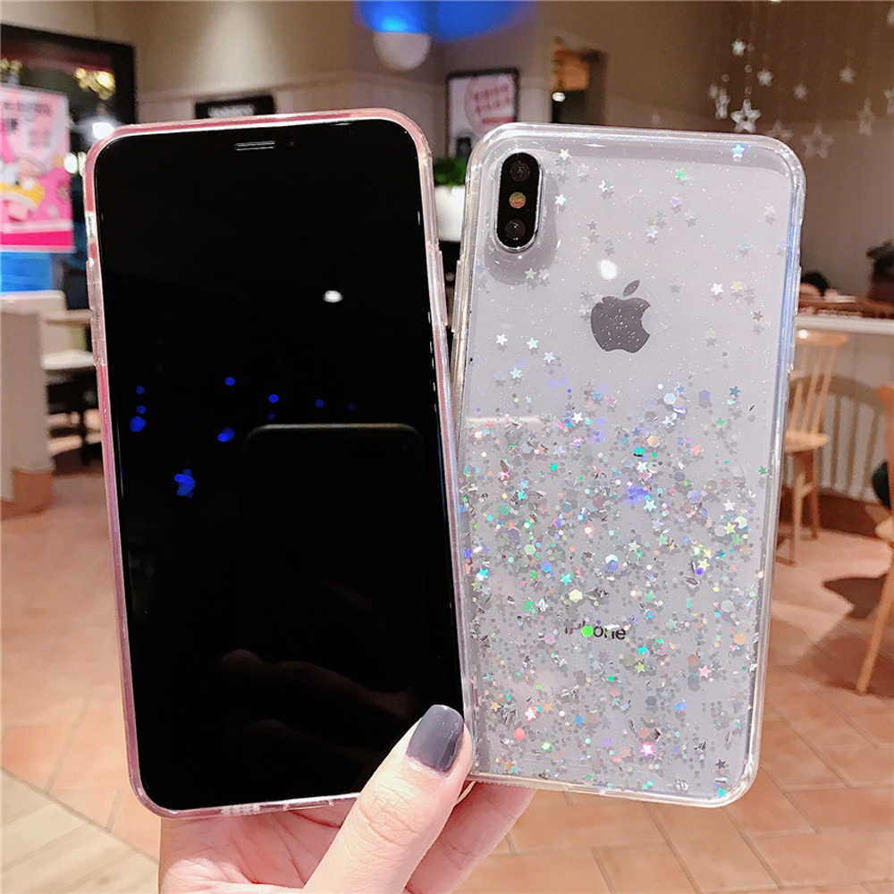 Xinksd Glitter Bling Sequins สำหรับ iphone 8 7 Plus 6 6s Epoxy ดาวโปร่งใสสำหรับ iphone X XR XS สูงสุด 10 Soft TPU Cover