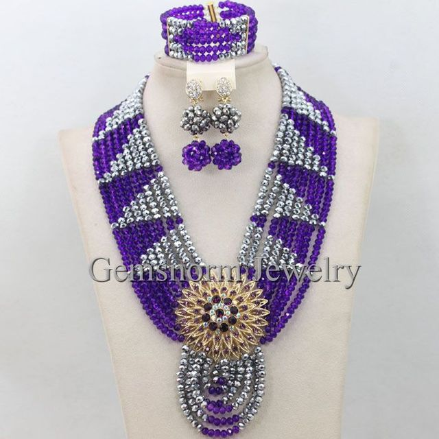 Purple and silver wedding african beads jewelry set girls chunky purple and silver wedding african beads jewelry set girls chunky necklace sets crystal costume jewelry set junglespirit Image collections