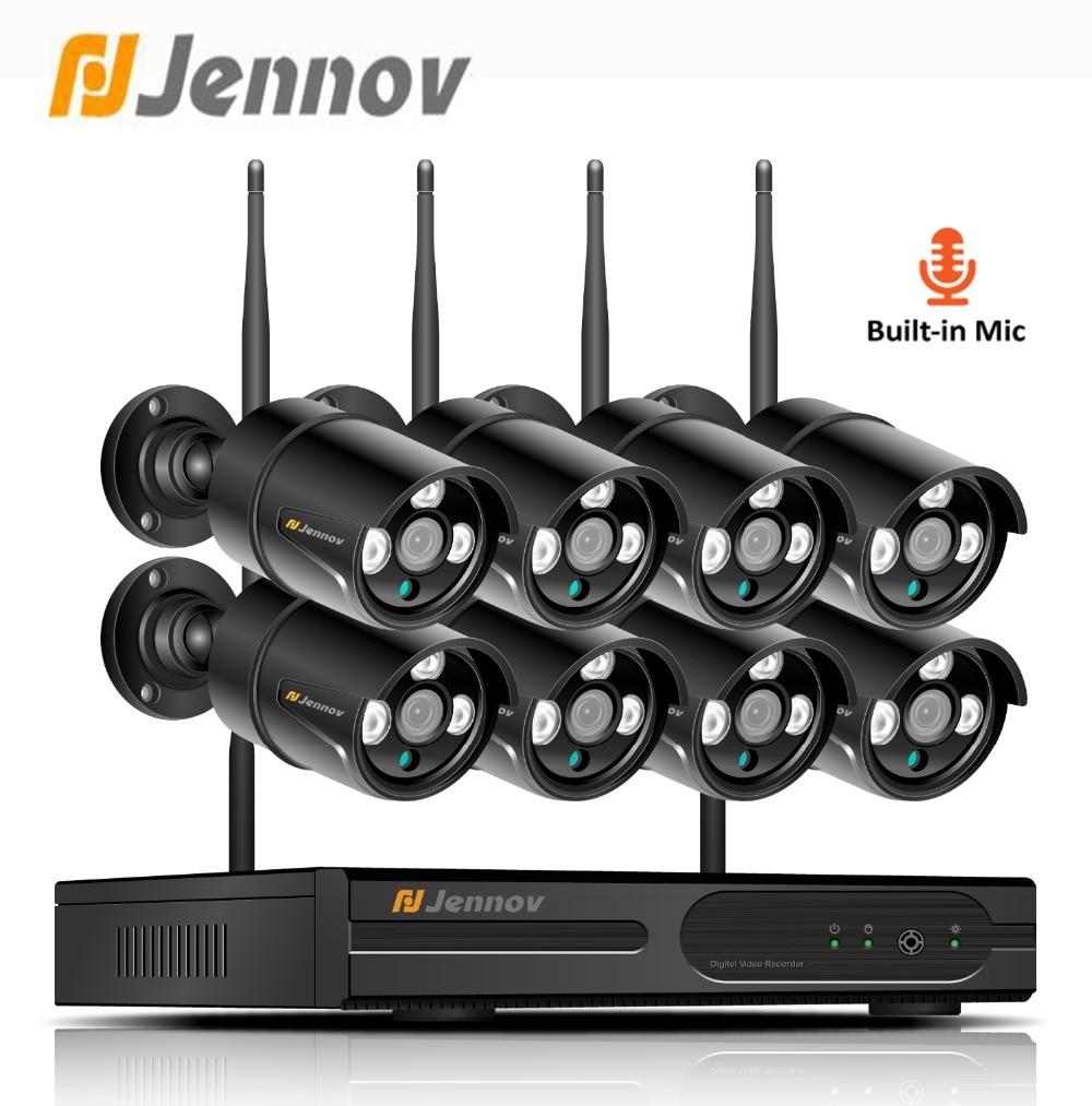 Jennov Vidéo Surveillance Caméra IP Wifi 1080 p 8CH 2MP Système de Caméra de Sécurité Sans Fil Avec Enregistrement NVR Kit Extérieure CCTV ensemble